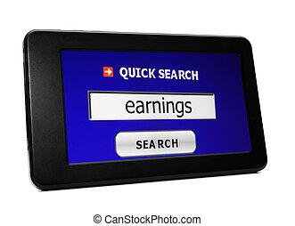 búsqueda, para, tela, ganancias
