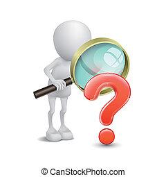 búsqueda, persona, signo de interrogación, vidrio, aumentar...