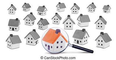 búsqueda, y, inspección, de, el, casa