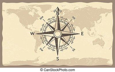 bússola antiga, ligado, mundo, map., vindima, geográfico, história, mapas, com, marinho, compassos, setas, vetorial, ilustração