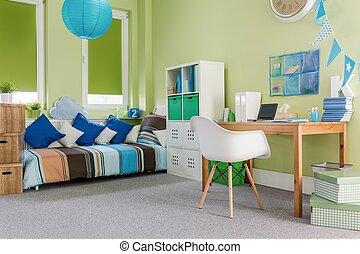 bútorozott, szoba, lakályos, működési
