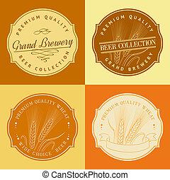 búza, fül, alatt, keret, helyett, mezőgazdaság, logo.