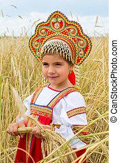 búza, ruha, orosz, leány, mező, áll, fülek, érés, nemzeti, ...