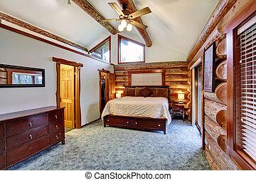 bûche, cherrywood, chambre à coucher, set., cabine, meubles
