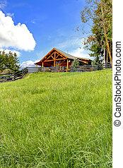 bûche, grass., colline verte, frais, cabine