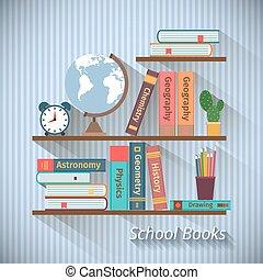 bücherregale, mit, lehrbücher