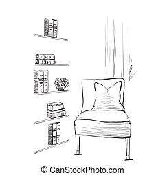 Bücherregal gezeichnet  Clipart Vektorbild von zimmer, lamp., hand, interior., gezeichnet ...