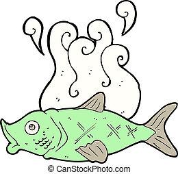 büdös, karikatúra, fish