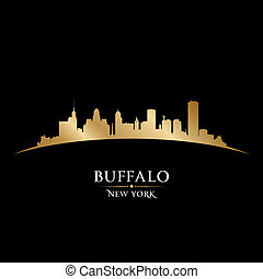 büffel, schwarzer hintergrund, skyline, stadt, york, neu , ...