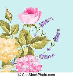 bündel, lavendel, und, rose, blumen