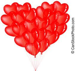bündel, rotes herz, form, luftballone