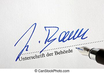 bürgerme, autorités, sous, document, signature