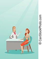 büro., beraten, patient, weiblicher doktor