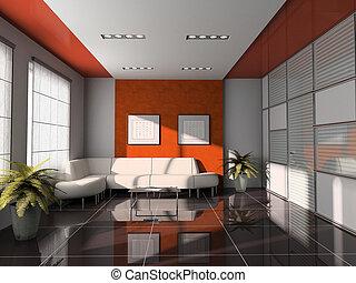 büro- innere, mit, orange, decke, 3d, übertragung