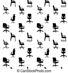 büro- stühle, muster, seamless, abbildung, silhouetten, ...