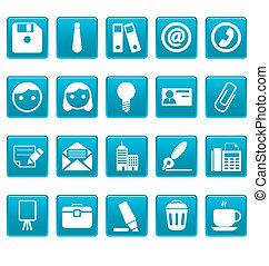 büroabbilder, auf, blaues, quadrate