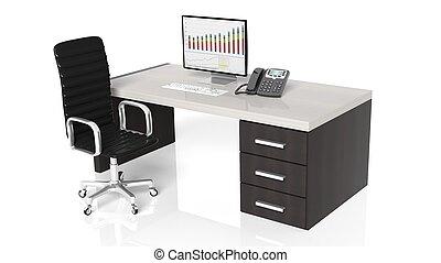 büroeinrichtung, schwarzer hintergrund, schreibtischstuhl, weißes