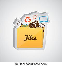 büroordner, ikone, datei