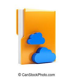 büroordner, mit, wolke, ikone