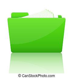 büroordner, papier, grün, datei
