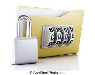 büroordner, und, lock., datensicherheit, concept., 3d, abbildung