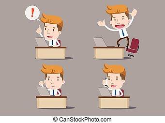 büroschreibtisch, geschäftsmann, karikatur