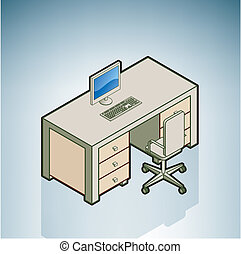 büroschreibtisch, mit, stuhl