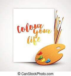 bürste, abbildung, kunst, palette, werkzeuge, vektor, drawing., farbe, bleistift