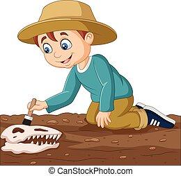 bürsten, junge, karikatur, fossil, dinosaurierer