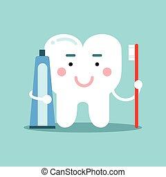 bürsten, reizend, kinder, dental, zeichen, zahnpasta, zahn,...