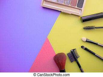 bürsten, schatten, auge, gefärbt, raum, face., aufmachung, hintergrund., kosmetikartikel, left., leerer