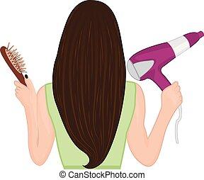 bürsten, sie, abbildung, vektor, hair., m�dchen