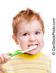 bürsten, wenig, dental, z�hne, zahnbürste, kind