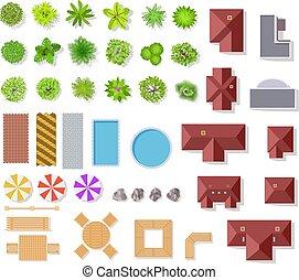 büsche, landschaftsbild, vektor, luftaufnahmen, häusser, ansicht, freigestellt, oberseite, teich, bäume, architektonisch, satz, plan, bänke, grün, elements., kleingarten