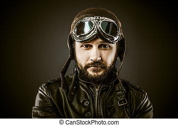 büszke, mód, vadászrepülőgép, szüret, éra, irányít kalap,...
