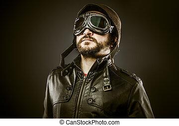 büszke, vadászrepülőgép, szüret, éra, irányít kalap,...
