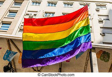 büszkeség, lgbt, parade., buzi, lobogó, nap, szivárvány, leszbikus