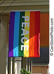 büszkeség, transzparens, béke, buzi