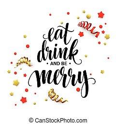 být, nápis, plakát, nápoj, ilustrace, merry., vektor, jíst