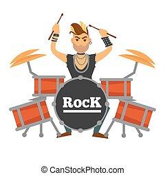 bęben, śpiew, ilustracja, gracz, występuje, skała, irokez