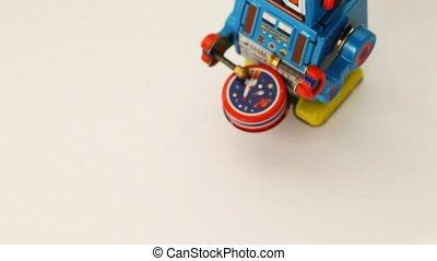 bęben, robot, jeden, mechanizm zegarowy, przechadzki, puka