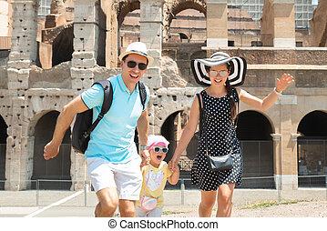běh, čelo, rodina, koloseum, mládě