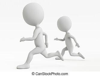 běh, charakter, dva, humanoid