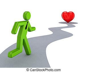 běh, osoba, červeň, heart., 3, malý
