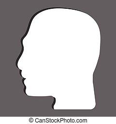 běloba mu, hlavička, silhouetted, ikona, vektor, izolovat, do, šedivý, grafické pozadí