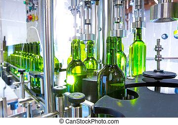 běloba víno, do, bottling, stroj, v, vinnica