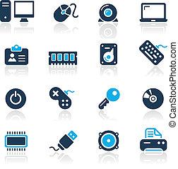 błękit, komputer, urządzenia, /, &