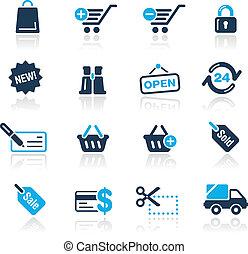 błękit, zakupy, /, ikony