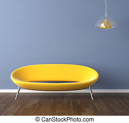 błękitna ściana, żółta leżanka, projektować, wewnętrzny