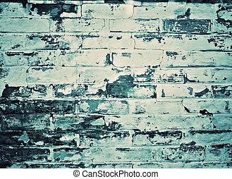 błękitna ściana, cegła, szary